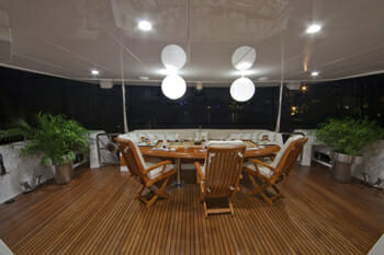 Diamond Girl aft deck at night