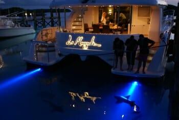 La Manguita aft deck at night
