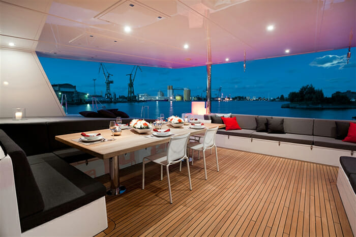 Levante aft deck dining