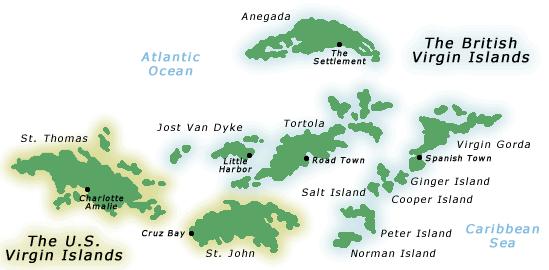 Map of the Virgin Islands
