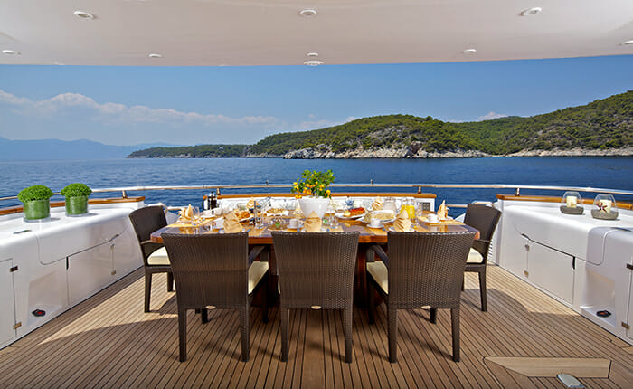 Marnaya aft deck dining