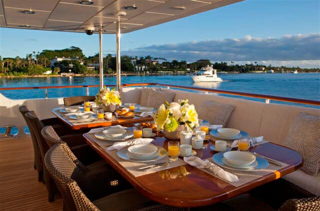 Milk and Honey aft deck dining