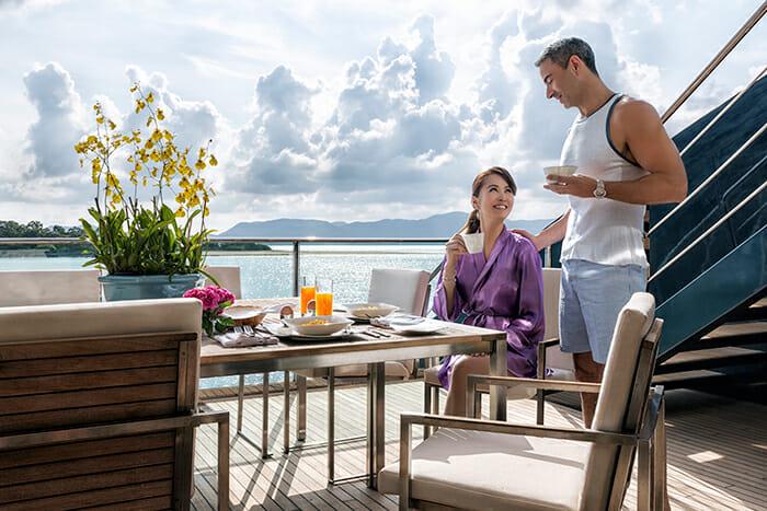 Ocean Emerald deck breakfast