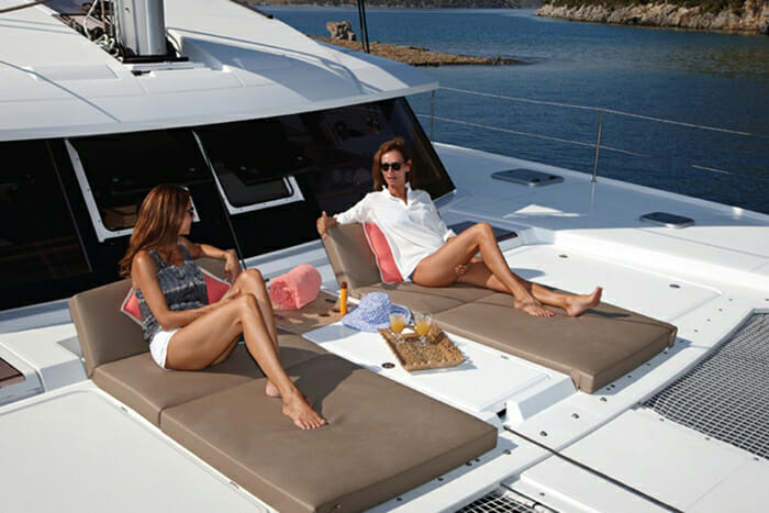 Port To Vino foredeck lounging