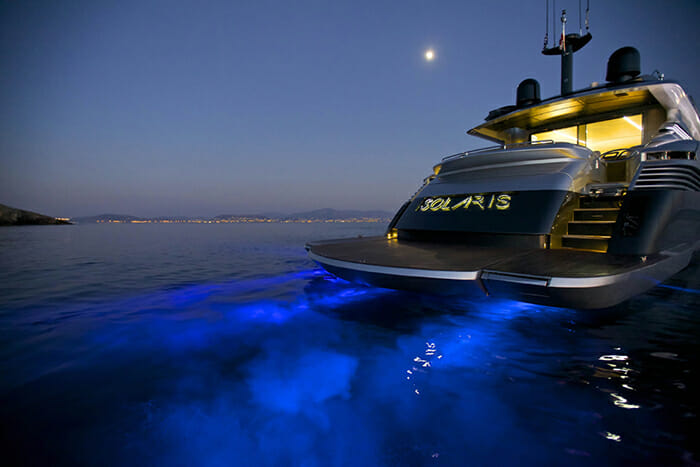 Solaris stern at night