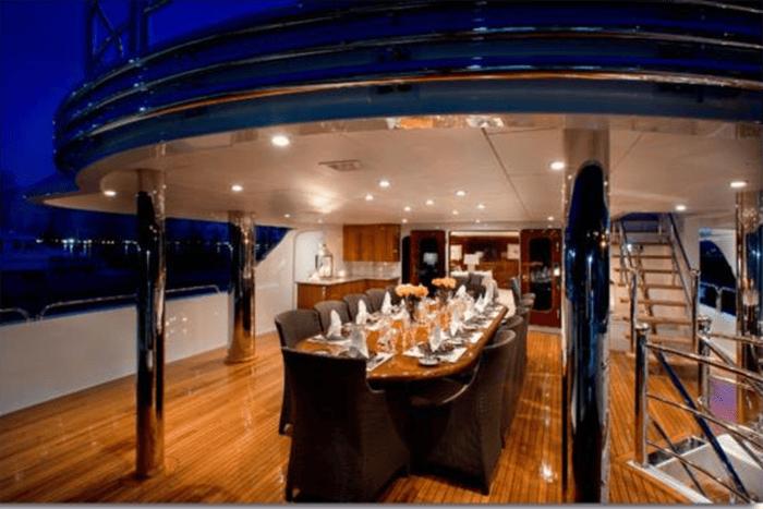 Three Forks bridge deck dining