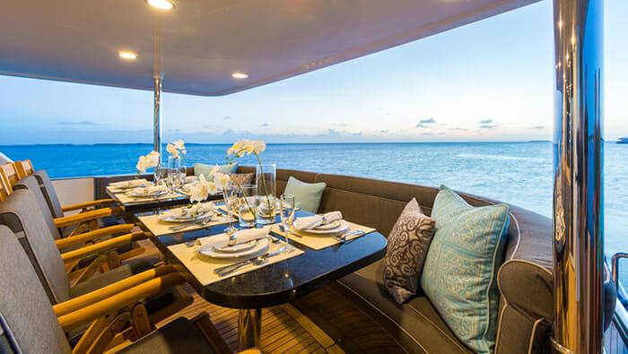 Unbridled aft deck dining