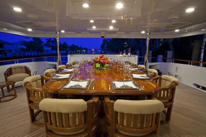 Wheels aft deck dining