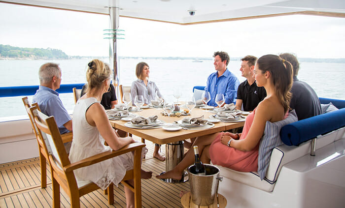 Windquest aft deck dining